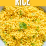 vibrant turmeric rice in bowl with text