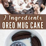 mug cake made of oreo and milk served with whipped cream and oreo crumbs on top with text