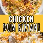 chicken dum biryani in bowl with text