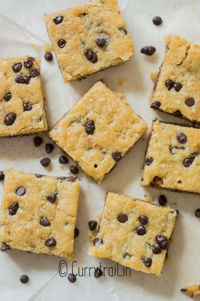 cookie bars on white board
