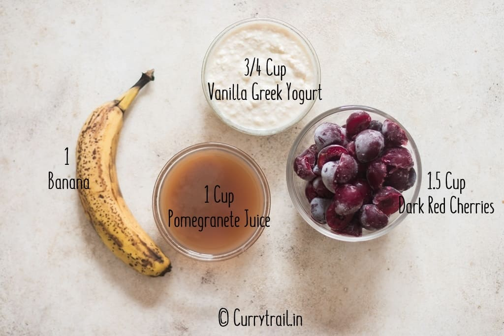 all ingredients for cherry smoothie