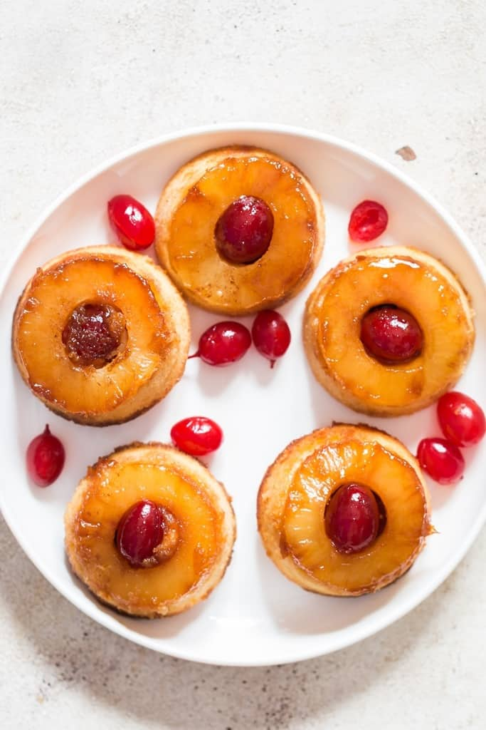 upside-down pineapple cakes on plate
