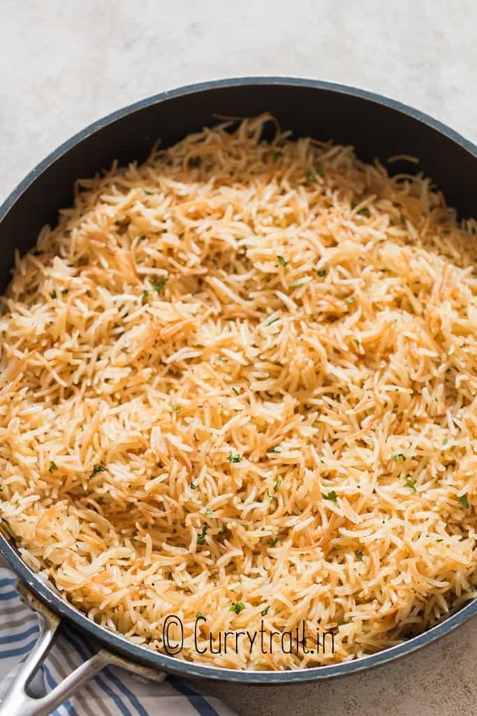plain rice pilaf cooked perfectly in skillet