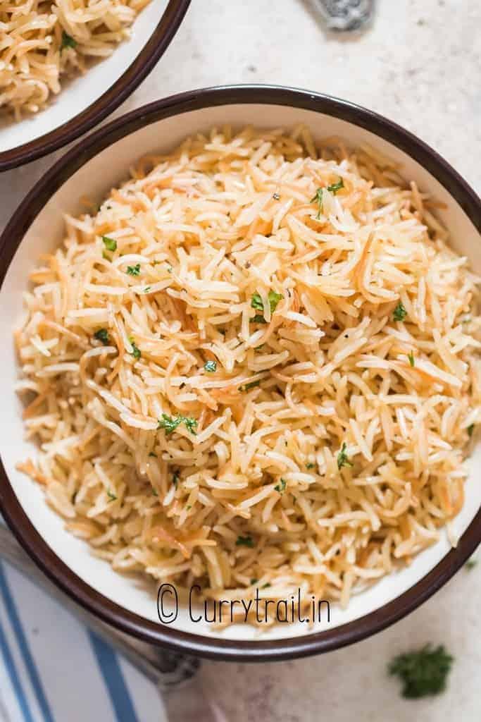 rice pilaf served in bowls