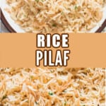 rice pilaf in serving bowls with text