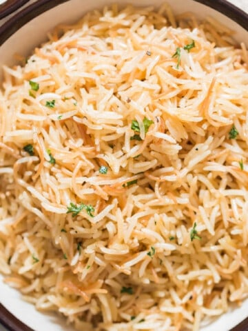 plain pilaf with long grain rice in serving bowl