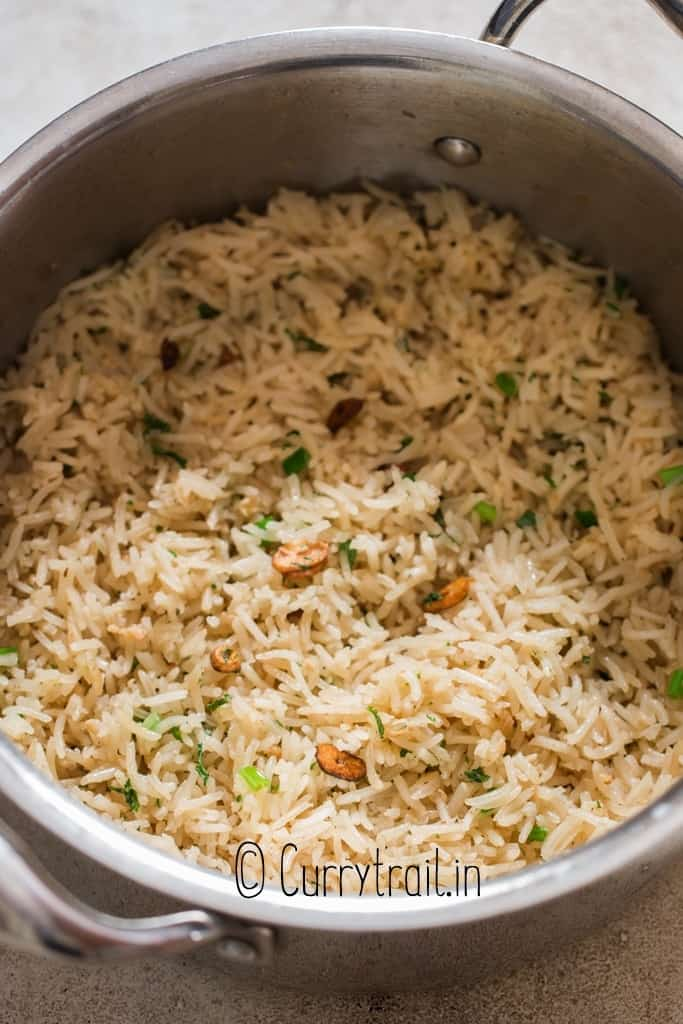 garlic butter rice cooked in pan