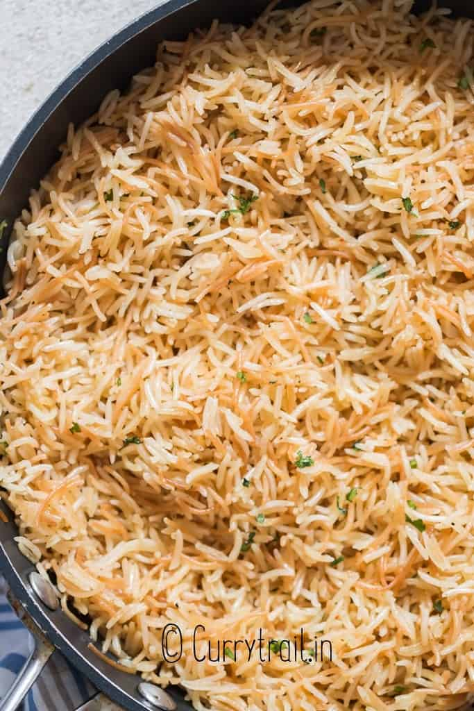 close up of rice pilaf cooked in skillet