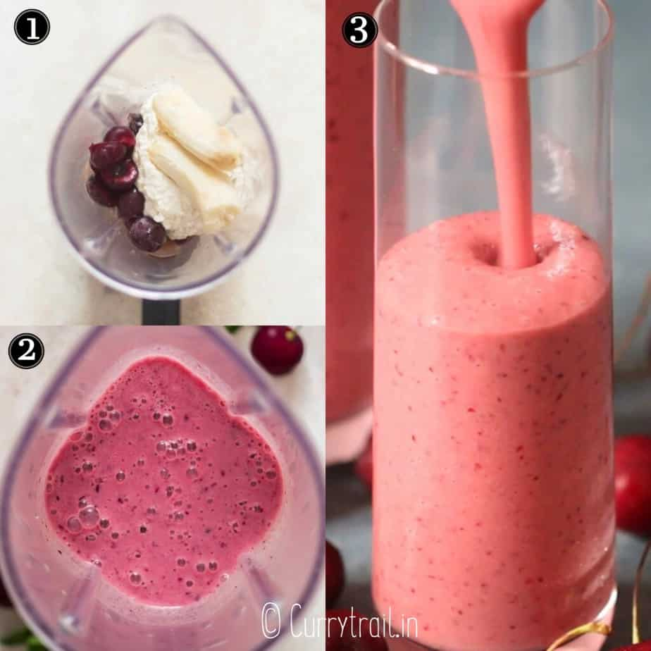 step by step picture collage of frozen cherry smoothie