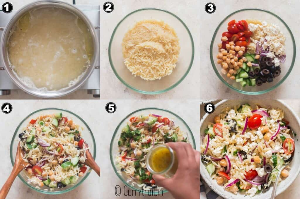 step by step picture collage of orzo pasta salad