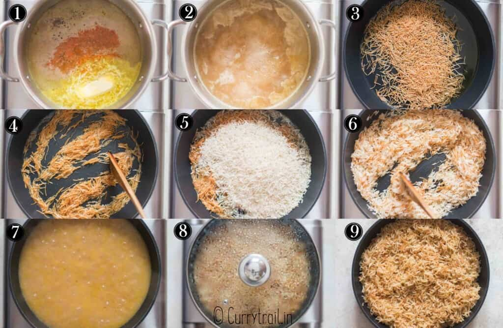 step by step pictorial collage of how to make rice pilaf