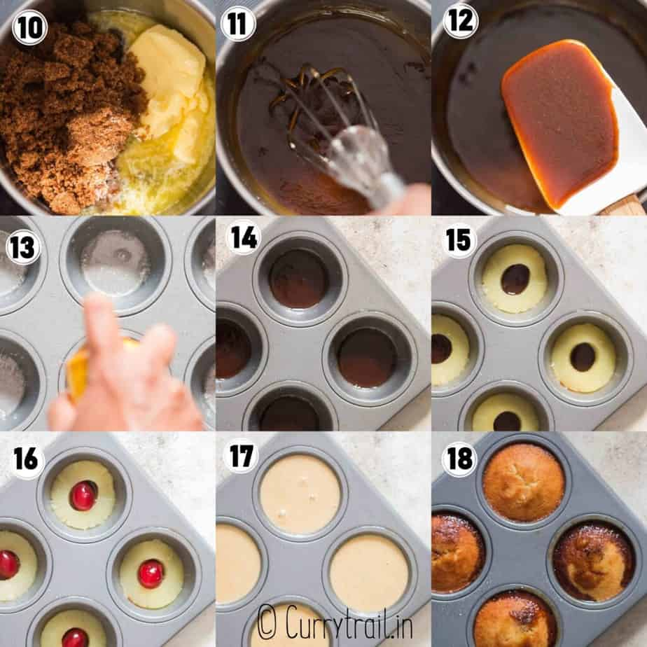 step by step picture collage of mini pineapple cakes