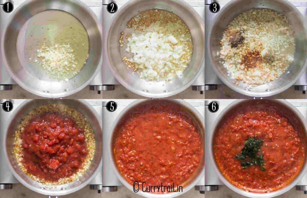 step by step picture collage of homemade marinara sauce
