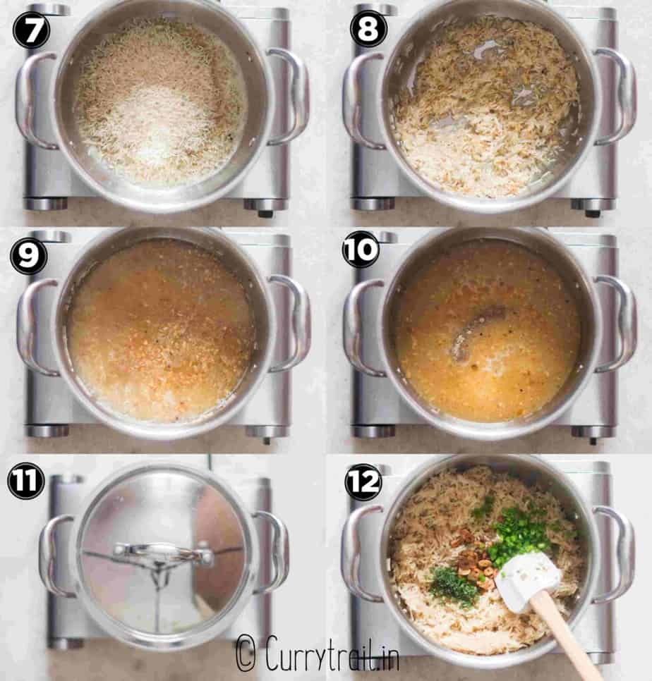 Step by step picture collage how to make garlic butter rice