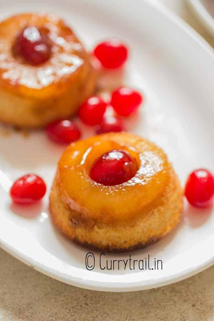 close up view of upside-down mini pineapple cakes