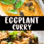south Indian eggplant curry served with rice with text