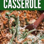 green bean casserole in skillet with text