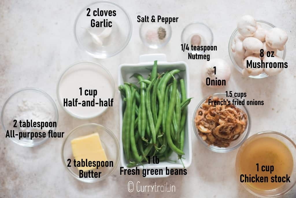 all ingredients for green bean casserole