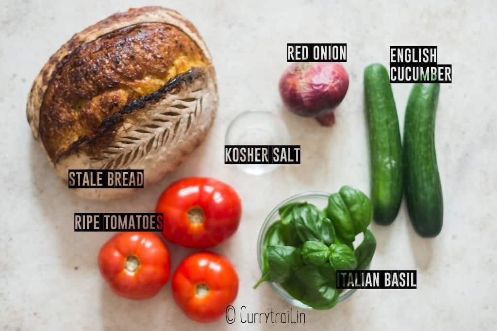 Italian bread salad ingredients