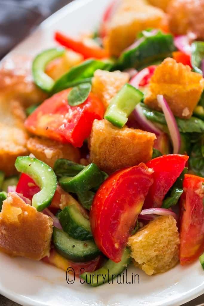 close up view Italian bread salad