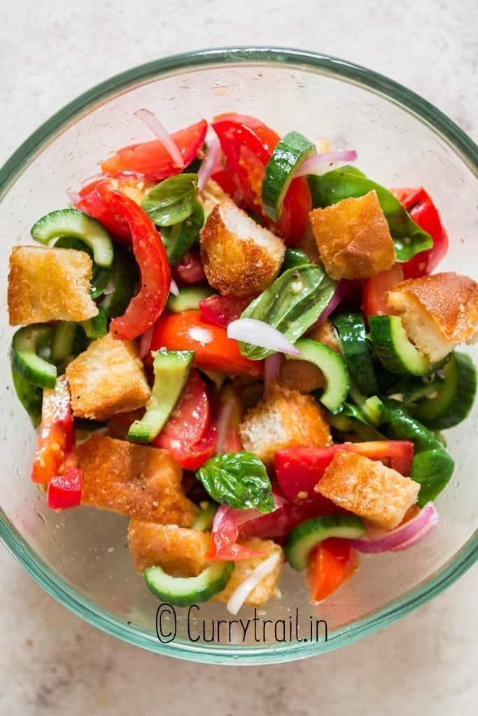 Italian bread salad in salad bowl