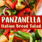 Panzanella Italian bread salad in plate with text
