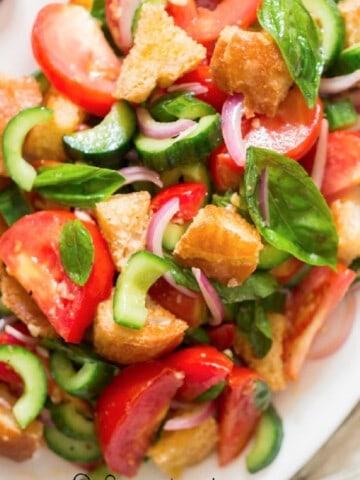 Panzanella Italian bread salad in plate