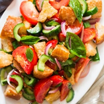 Panzanella salad on plate
