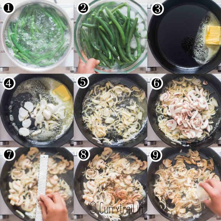step by step pictorial collage of fresh green bean casserole