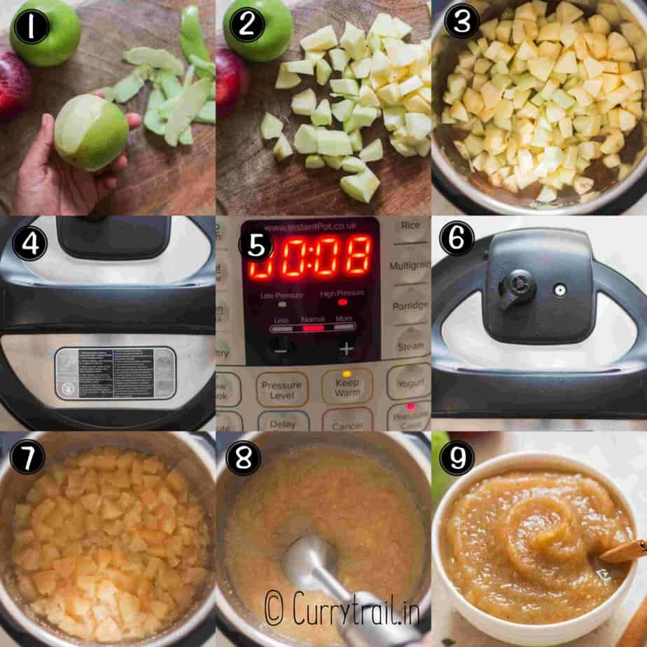 step by step picture collage of how to make instant pot applesauce