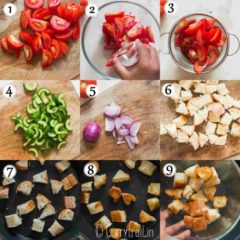 step by step picture collage of Italian bread salad