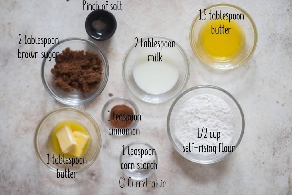 all ingredients for mug cinnamon roll
