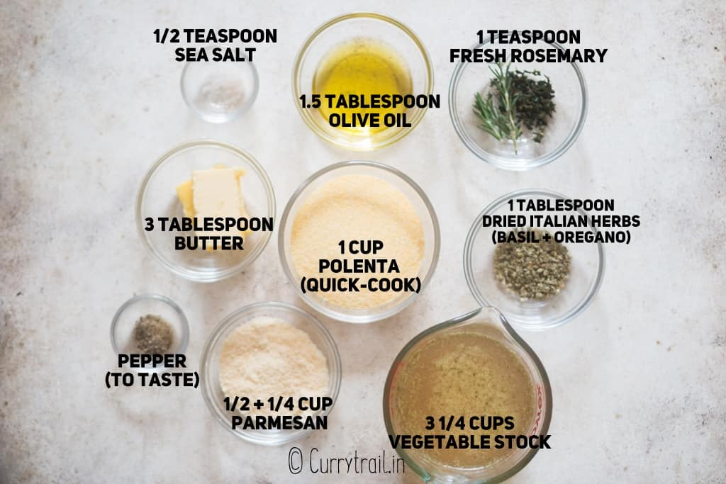 all ingredients for polenta fries