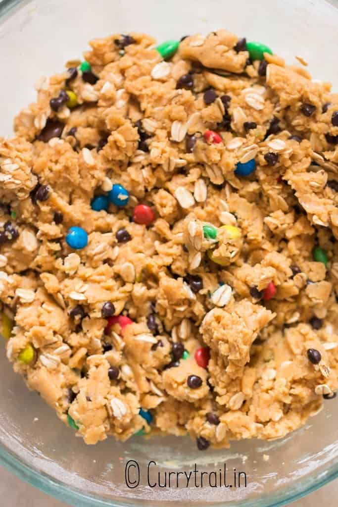 chocolate chips M&Ms packed cookie dough