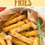 crispy fries made of polenta in bowl with ketchup with text