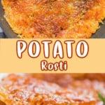 crispy potato rosti on plate with text