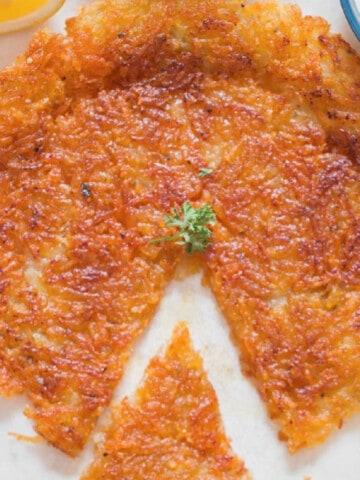 crispy potato rosti on plate
