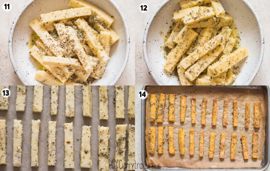 step by step picture collage of polenta fries
