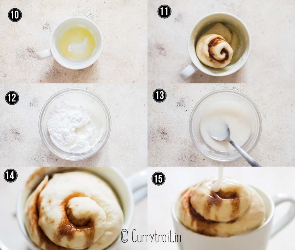 step by step picture collage of microwave mug cinnamon roll