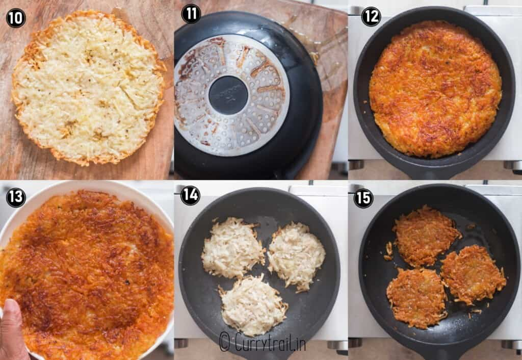 step by step picture collage of crispy potato rosti