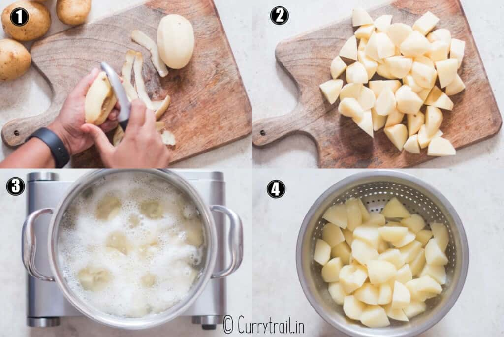 step by step picture collage of roast potatoes